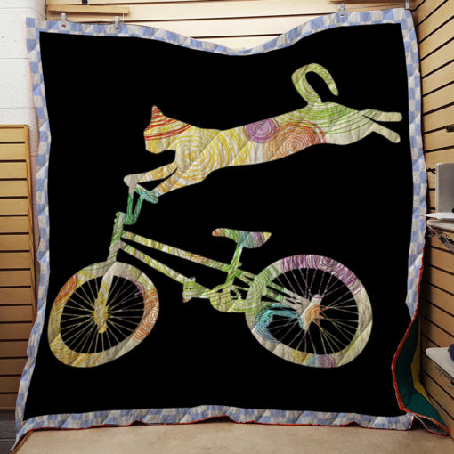 Cat Bike Cycling Bicycle Quilt – Your Gift Collection