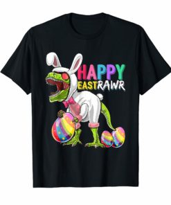 Happy Eastrawr T-Rex Dinosaur Easter Bunny Egg Shirt Kids
