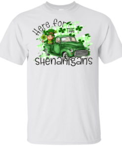 Here For The Shenanigans Leprechaun Truck Patricks DayYouth Kids T-Shirt
