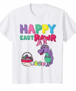 Kids Happy EastRAWR T-Shirt For Kids Cute Dinosaur With Bunny Ears