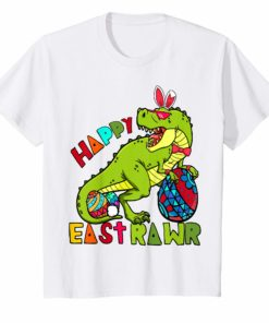 Kids Kids Happy Eastrawr T-Rex Dinosaur Easter Bunny Egg T-Shirt