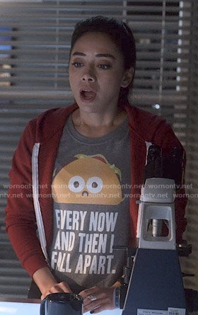 ELLA'S GREY EVERY NOW AND THEN I FALL APART TEE ON LUCIFER