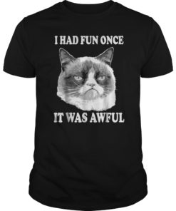 Grumpy Cat Had Fun Once Was Awful Big Face T-Shirt