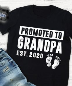 Promoted To Grandpa Est 2020 New Gift For Dad T-Shirt